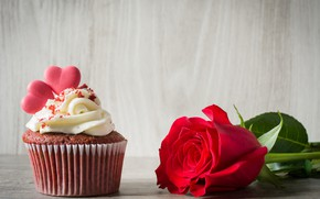 Картинка роза, сердечки, красная, крем, выпечка, кекс, капкейк