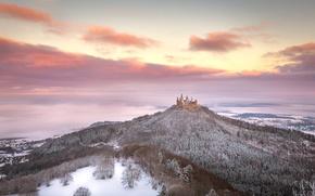 Картинка зима, лес, небо, облака, замок