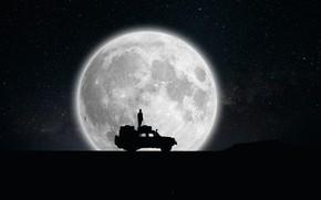 Картинка человек, Луна, силуэт, автомобиль
