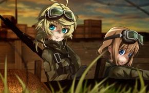 Картинка battlefield, girl, soldier, military, war, anime, blonde, asian, manga, oriental, asiatic, powerful, strong, uniform, seifuku, …