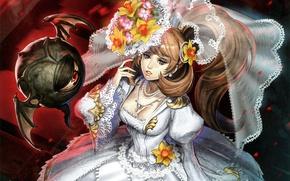 Картинка цветы, глаз, существо, декольте, невеста, фата, art, свадебное платье, midori foo