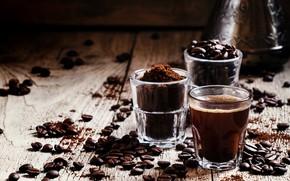 Картинка стакан, напиток, кофейные зерна, кофе