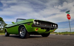 Картинка Dodge Challenger, Green, 1970, Muscle car, Road, Convertible