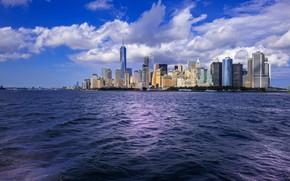 Обои город, океан, Нью-Йорк, New York City, Нью-Йорк (США)