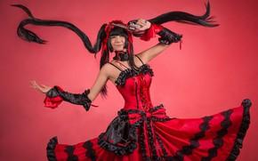 Картинка девушка, оружие, красное платье, косплей, Date a Live