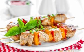 Картинка мясо, овощи, шашлык, базилик