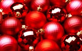 Картинка праздник, игрушки, новый год, красные шары, новогоднее украшение