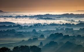 Картинка природа, туман, утро, долина