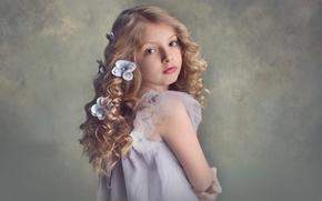 Картинка девочка, кудряшки, причёска, цветочки, локоны, Meg Bitton