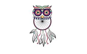 Обои dream catcher, светлый фон, птица, owl, dreamcatcher, ловец снов, сова, перья, минимализм