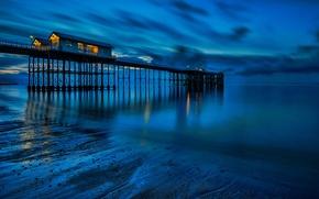 Картинка море, огни, берег, отлив, пирс, Великобритания, Уэльс