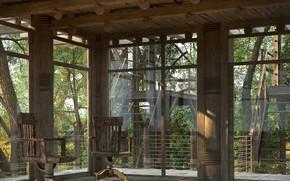 Картинка дерево, стулья, лестница, постройка, COOL AFTERNOON