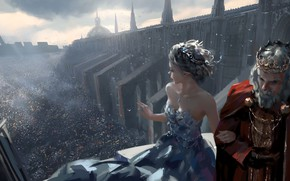 Картинка girl, fantasy, party, cathedral, dress, crown, man, crowd, elf, digital art, artwork, princess, fantasy art, …