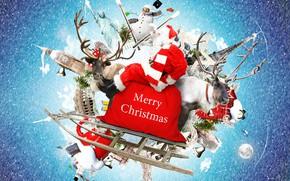 Картинка снежинки, красный, креатив, фон, города, праздник, надпись, мир, шапка, сапоги, шарф, очки, Рождество, Новый год, …