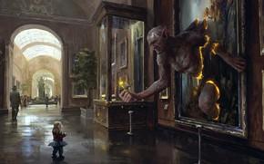 Обои fantasy, weapon, child, Trolls, sword, people, fantasy art, statue, digital art, flower, painting, showcase, museum, ...
