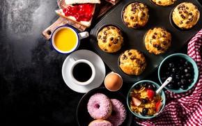 Картинка яйцо, кофе, завтрак, сладости, пончики, выпечка, хлопья, кексы, бутерброды