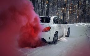 Картинка зима, car, машина, авто, city, туман, гонка, сказка, тачка, red, mercedes, спорт кар, автомобиль, need …