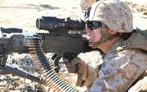 Картинка gun, soldier, weapon, helmet, machine gun