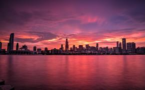 Обои Мичиган, usa, вечер, город, Иллиноис, chicago, небоскребы, Чикаго
