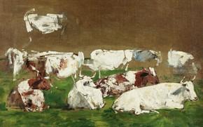 Обои Эжен Буден, животные, Eugene Boudin, картина, Коровы