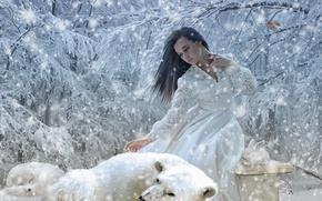 Обои лиса, девушка, белый кролик, деревья, кролик, зима, снег, полярная лисица, белый медведь, медведь