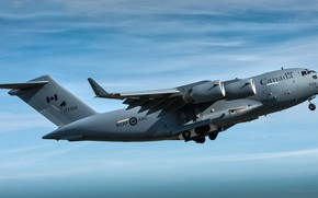 Картинка небо, полёт, боевой самолёт, Boeing CC-177 Globemaster III