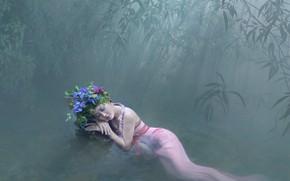 Картинка лес, вода, девушка, поза, настроение, отдых, ситуация, бамбук, платье, азиатка, венок