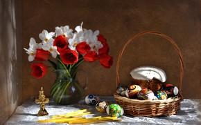 Картинка цветы, праздник, букет, весна, пасха, тюльпаны, натюрморт, кулич, нарциссы, композиция