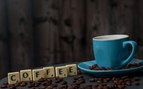 Обои чашка, кофе, буквы, зерна