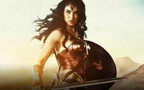 Обои cinema, Wonder Woman, armor, movie, brunette, film, warrior, DC Comics, Diana, strong, Gal Gadot, gauntlet, ...