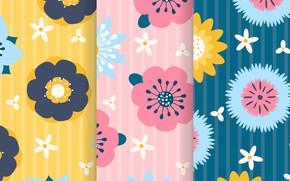 Обои желтый, фон, розовый, голубой, текстура, цветочки