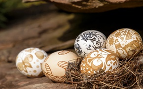 Картинка узоры, яйца, Пасха, гнездо, Easter, Holidays, Eggs