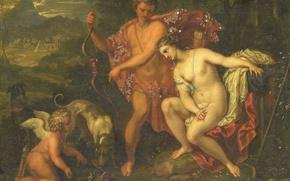 Картинка масло, картина, миф, Мелеагр и Аталанта, 1699