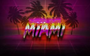 Картинка Неон, Пальмы, Фон, Hotline Miami, Synthpop, Darkwave, Synth, Retrowave, Synthwave, Synth pop, Hotline