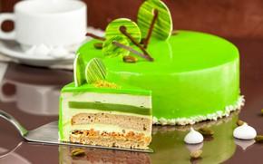Обои торт, слои, кусок, декор, глазурь, мусс