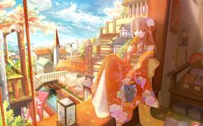 Картинка мост, река, башня, растения, весна, фонарик, девочка, кимоно, цветение, вид из окна, голубое небо, цветок …