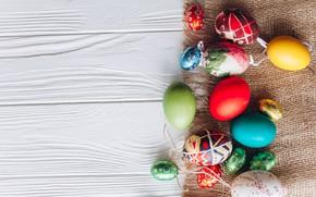 Картинка яйца, весна, colorful, Пасха, wood, spring, Easter, eggs, decoration, Happy