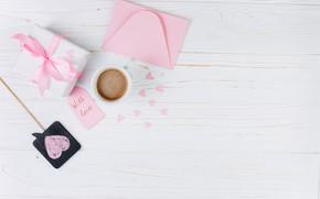 Картинка любовь, подарок, чашка, сердечки, love, heart, pink, cup, romantic, gift, coffee, with love, tender