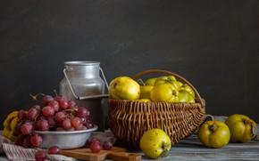 Картинка корзина, виноград, айва, бидон