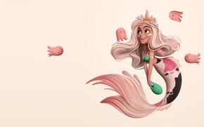 Картинка арт, fantasy, русалочка, детская, Danny Mac, Mermay, осьминожка