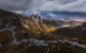 Картинка облака, тучи, озеро, скалы