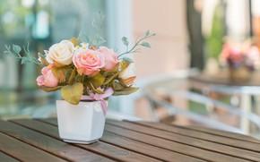 Картинка цветы, розы, букет, ваза, бутоны