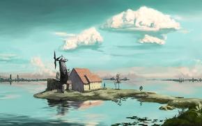 Картинка небо, вода, облака, дом, небоскребы, горизонт, ветряная мельница, полуостров