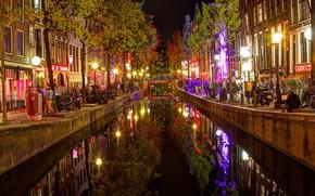 Картинка ночь, огни, дома, Амстердам, канал, Нидерланды