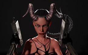Картинка взгляд, демон, рога