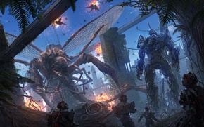 Картинка фантастика, робот, крылья, монстр, чудовище, киборг, схватка, щупальце