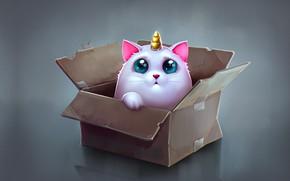 Обои аниме, арт, коробочка, детская, Katya Art, Cat Unicorn