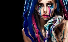 Картинка blue, drag, model, tears, look, pose, fingers, Makeup