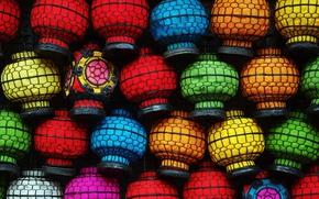 Обои краски, Китай, фонарики, рынок, Пекин