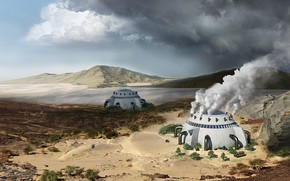 Картинка горы, сооружения, climate change, desert retouche, Vaporous dome